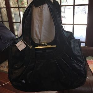 New Coach Ergo Patent Leather Pleated Framed Bag